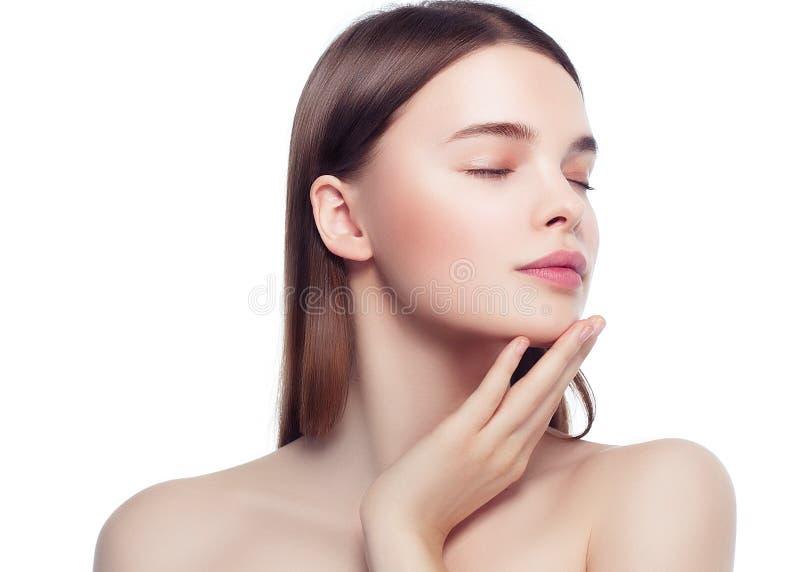 Buntes Make-upfrauengesicht, schöne Brunettesommer-Make-up wi lizenzfreies stockbild