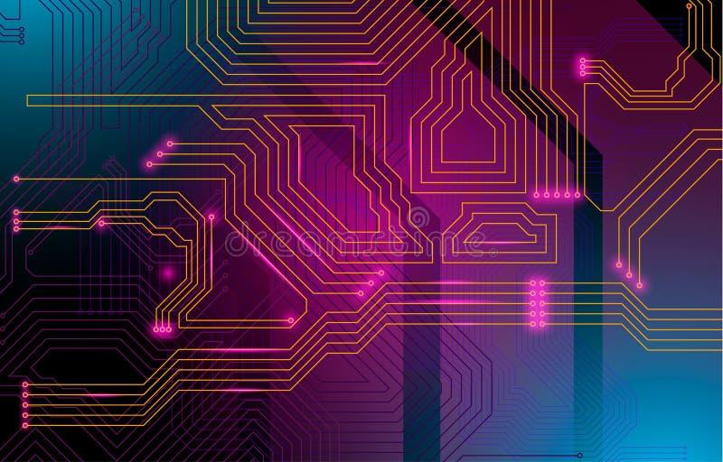 Buntes microscheme Design Vektormikrochip stockbild