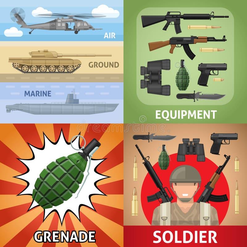 Buntes militärisches quadratisches Konzept stock abbildung