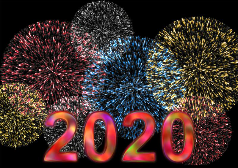 Buntes 2020 mit Feuerwerk lizenzfreie stockfotos