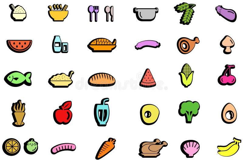 Buntes modisches Lebensmittel, Bestandteil, Gemüsefrucht und Küche t vektor abbildung