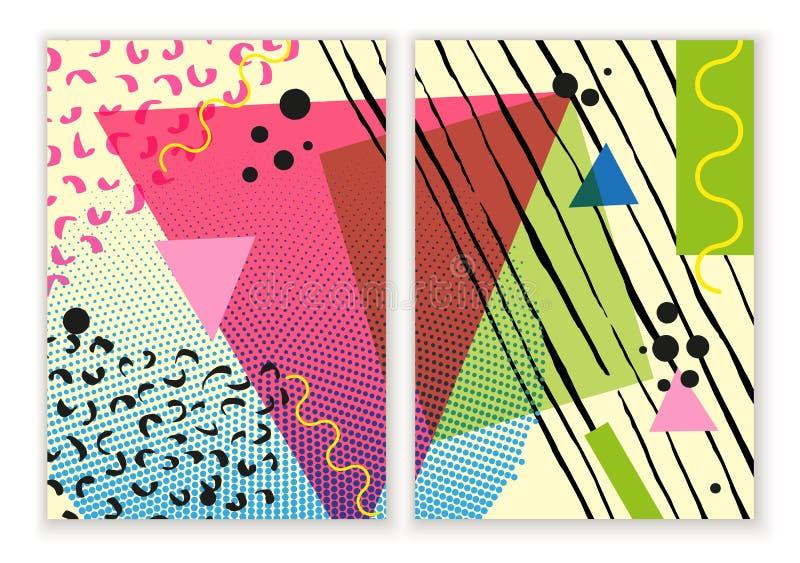 Buntes modisches Neo-geometrisches Plakat Memphis Modernes abstraktes Designplakat, Abdeckung, Kartendesign lizenzfreie abbildung