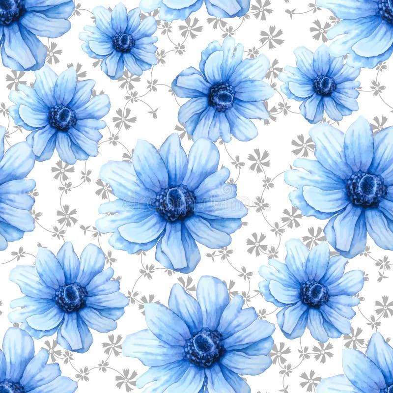 Buntes Muster des Aquarells mit blauen Anemonenblumen auf wei?em Hintergrund Blumen und V?gel stock abbildung