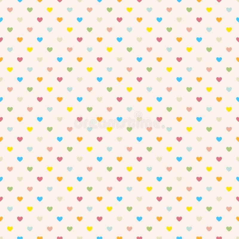 Buntes Muster des nahtlosen Tupfens mit Herzen. lizenzfreie abbildung
