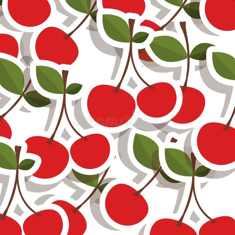 buntes Muster des Schattenbildes mit der zwei Kirschfrucht vektor abbildung