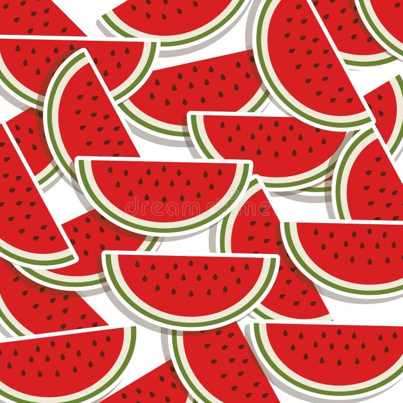 buntes Muster des Schattenbildes mit Scheibenwassermelone stock abbildung