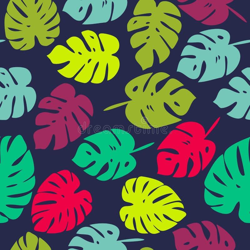 Buntes Muster des Vektors mit tropischen Blättern vektor abbildung