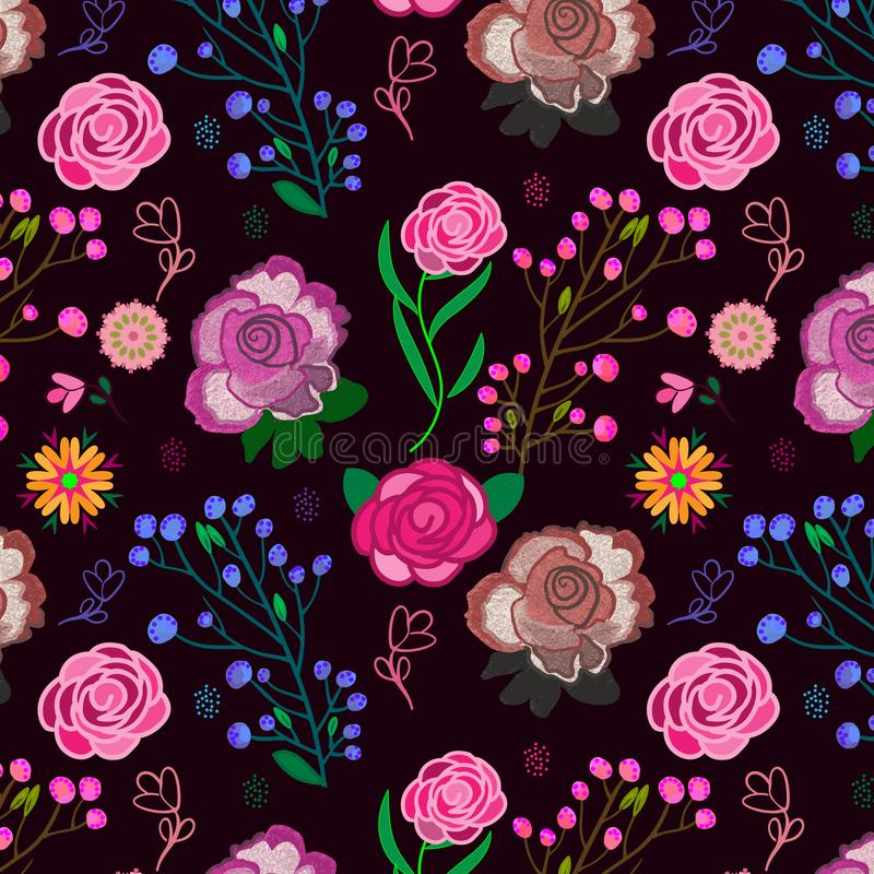 Buntes mutiges rosa nahtloses mit Blumenmuster über tiefpurpurnem Hintergrund vektor abbildung
