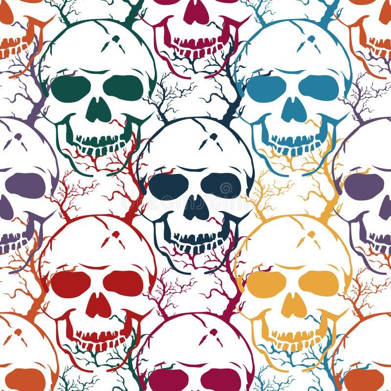 Buntes nahtloses Halloween-Muster Abstrakter Hintergrund des Vektors mit den Schädeln und den Bäumen stock abbildung