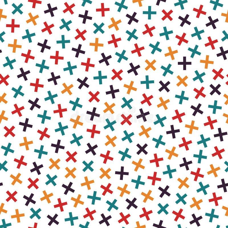 Buntes nahtloses Memphis-Muster in den hellen Farben Mosaik kreuzt Beschaffenheit vektor abbildung