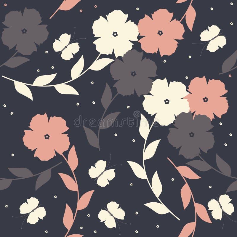 Buntes nahtloses mit Blumenmuster mit Schmetterlingen auf blauem backgr stock abbildung