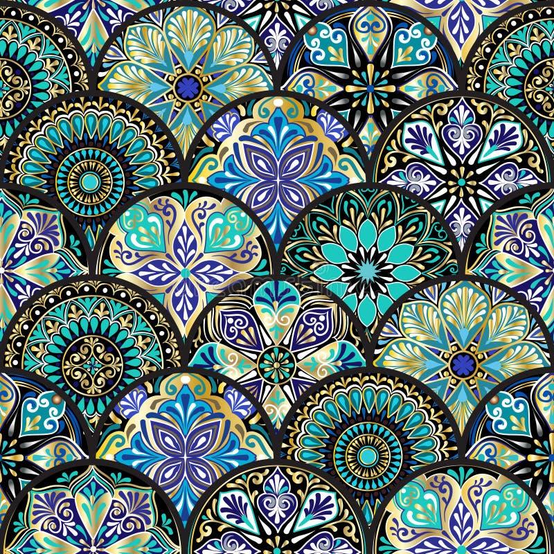 Buntes nahtloses mit Blumenmuster von den Kreisen mit Mandala in der Patchwork boho Chicart vektor abbildung