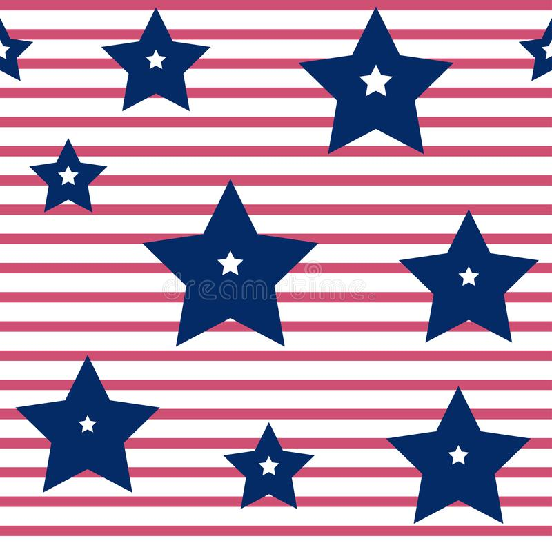 Buntes nahtloses Muster bis den Unabh?ngigkeitstag der Vereinigten Staaten von Amerika, Vektor lizenzfreie abbildung
