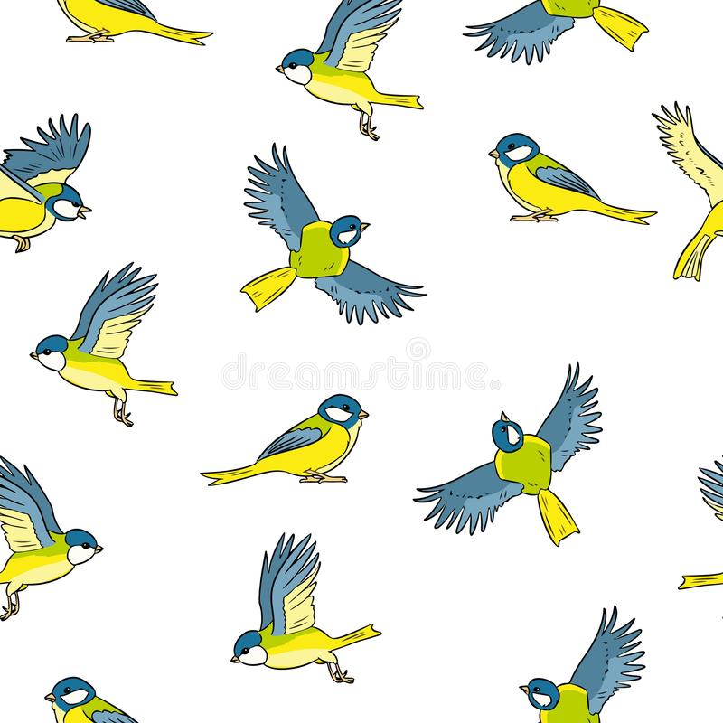 Buntes nahtloses Muster der Karikaturartmeisefrühlings-Vögel vektor abbildung