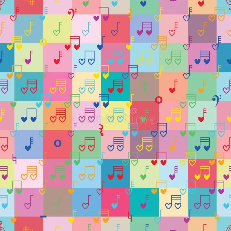Buntes nahtloses Muster der Musikanmerkungsliebes-Symmetrie stock abbildung