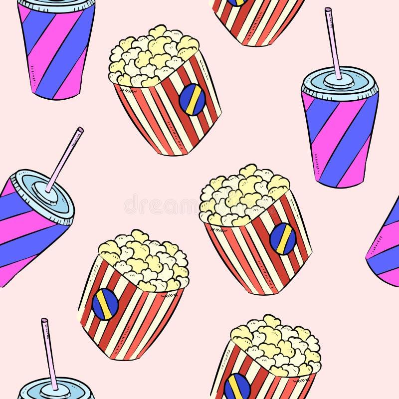 Buntes nahtloses Muster der Popcorn- und Sodagekritzel vektor abbildung