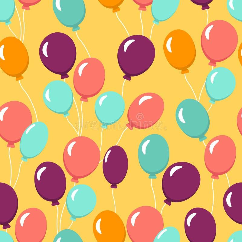 Buntes nahtloses Muster mit Ballonen für Tapete, Gewebe, Gewebe Alles- Gute zum Geburtstagfeier Auch im corel abgehobenen Betrag stock abbildung