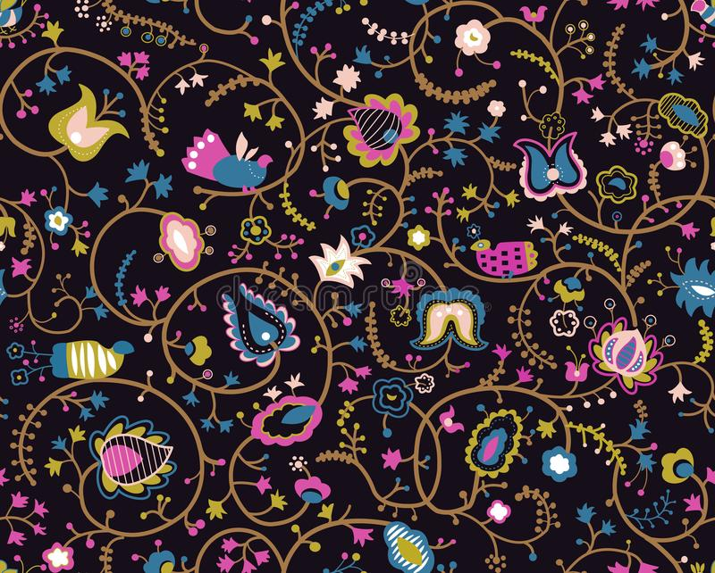 Buntes nahtloses Muster mit dekorativen Vögeln und Blumen lizenzfreie abbildung