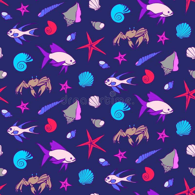 Buntes nahtloses Muster mit Fischen, Krabbe, Oberteile, Starfish Karikaturunterwassergeschöpf-Vektorillustration, nette Seetiere vektor abbildung