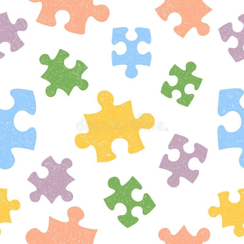 Buntes nahtloses Muster mit Gekritzelpuzzlespielstücken lizenzfreie abbildung