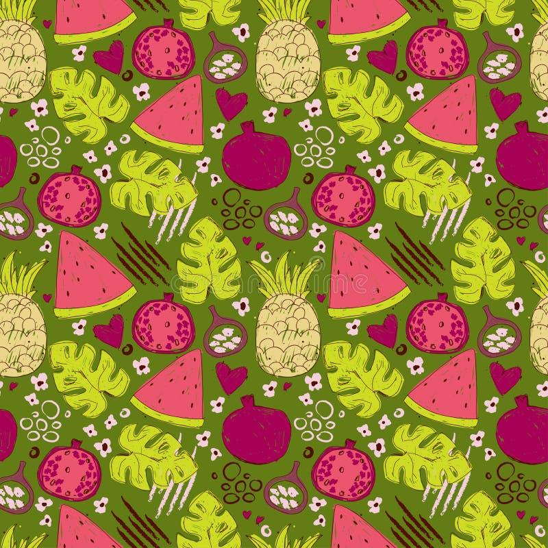 Buntes nahtloses Muster mit Hand gezeichneten exotischen Früchten lizenzfreie abbildung