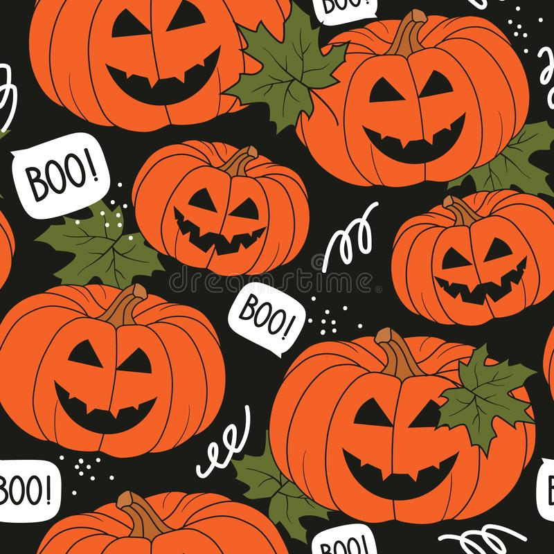 Buntes nahtloses Muster mit Kürbisen, Ahornblätter Dekorativer Hintergrund, Halloween-Tag vektor abbildung