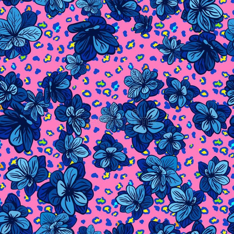 Buntes nahtloses Muster mit Leoparddruck und blauen Blumen stock abbildung