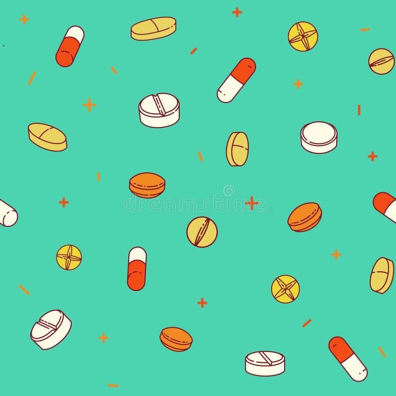 Buntes nahtloses Muster mit Pillen und Kapseln vektor abbildung