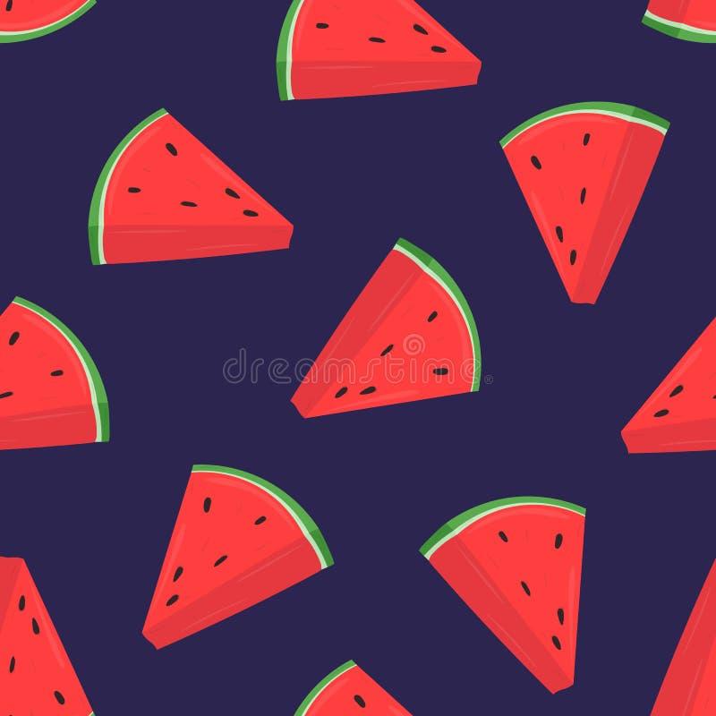 Buntes nahtloses Muster mit rosa Scheiben der frischen Wassermelone auf purpurrotem Hintergrund Hintergrund mit dem Sommer köstli vektor abbildung