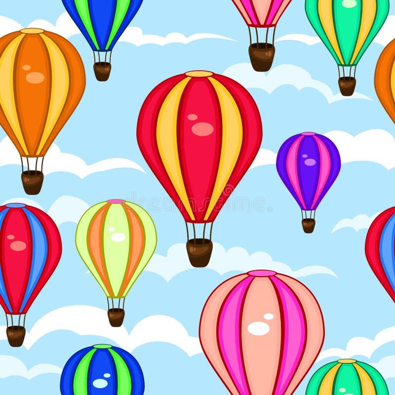 Buntes nahtloses Muster von Heißluftballonen lizenzfreie abbildung