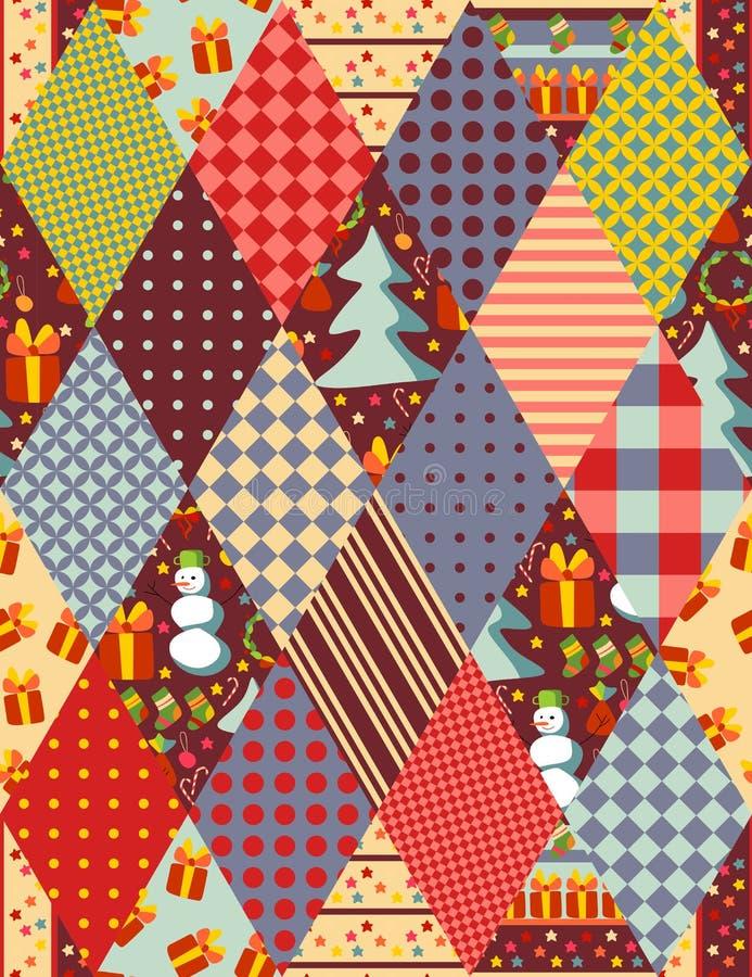 Buntes nahtloses Patchworkmuster für Weihnachten stock abbildung