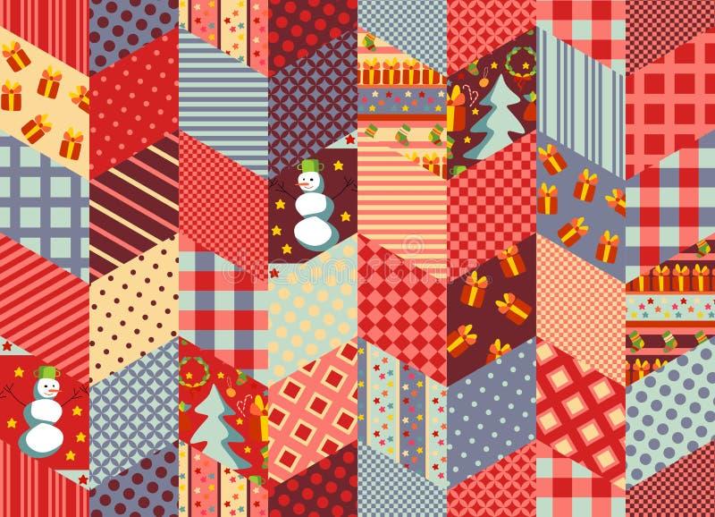 Buntes nahtloses Patchworkmuster für Weihnachten oder neues Jahr Steppendes Design lizenzfreie abbildung
