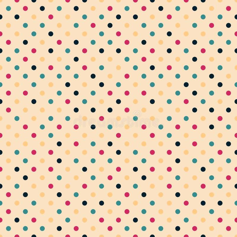 Buntes nahtloses Tupfenmuster des Vektors - Retro- minimalistic Entwurf Entziehen Sie hellen Hintergrund lizenzfreie abbildung