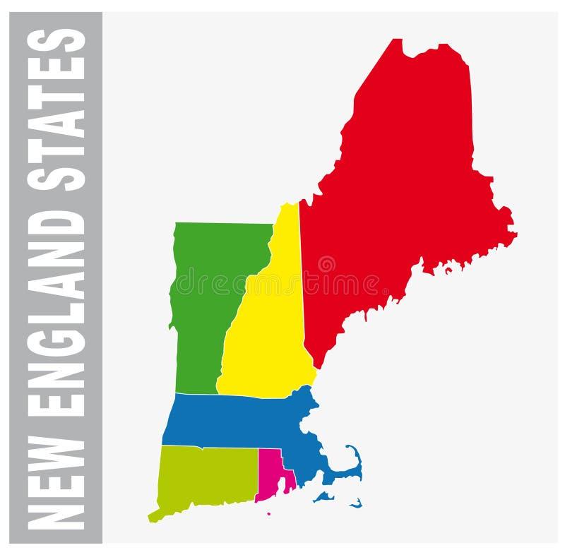 Buntes Neu-England gibt Verwaltungs- und politische Karte an lizenzfreie abbildung