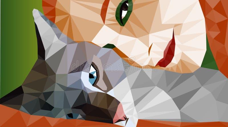 Buntes niedrig-Polyporträt des Legens der Katze und des Gesichtes einer Frau Vektor auf Lager lizenzfreie abbildung