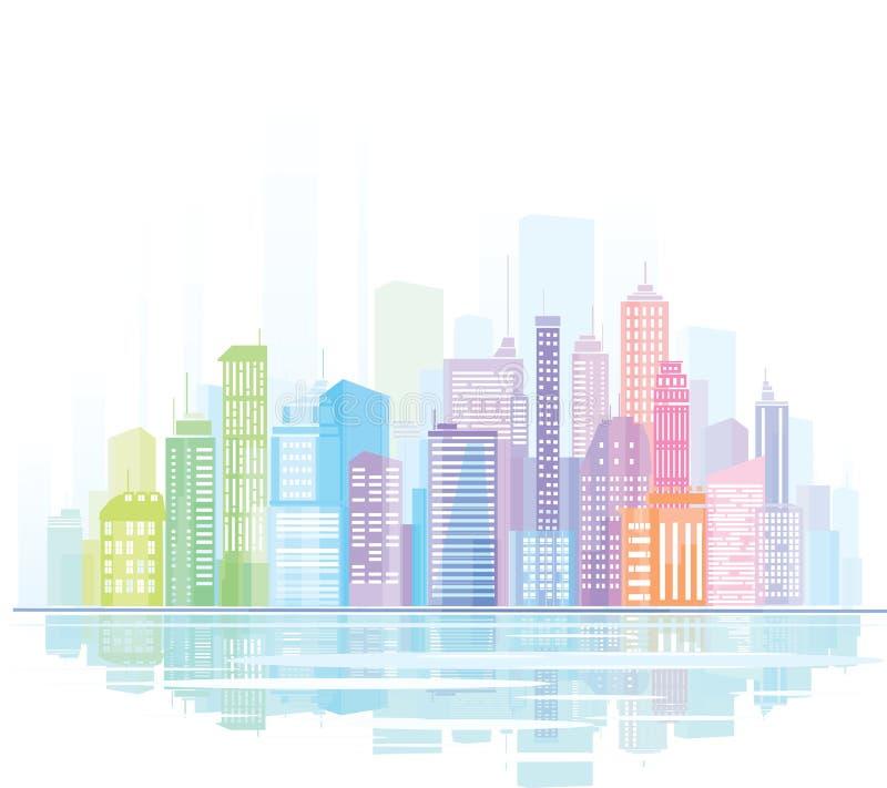 Buntes Panorama der Stadt. stock abbildung