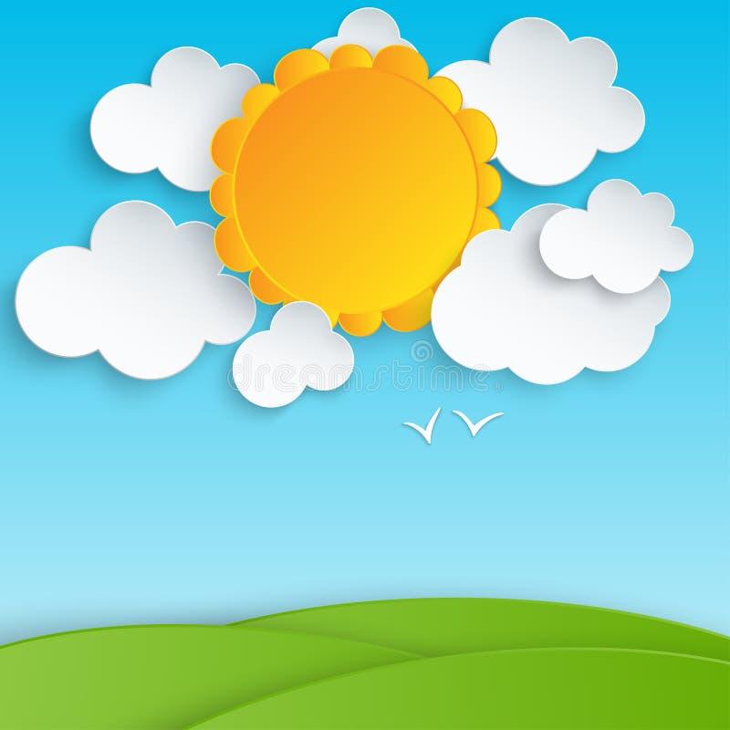 Buntes Papier schnitt flaumige Wolken und Sonne im blauen Himmel vektor abbildung