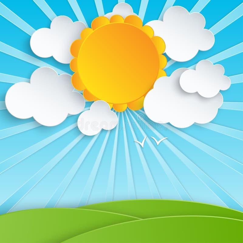 Buntes Papier schnitt flaumige Wolken und Sonne mit Strahlen im blauen Himmel vektor abbildung