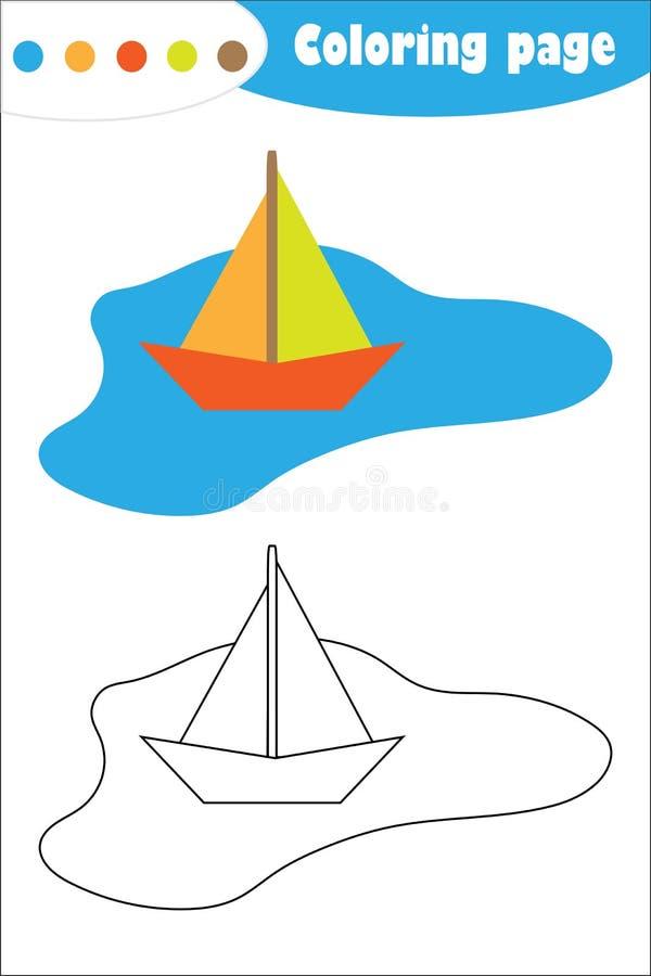 Buntes Papierboot in einer Pfütze in der Karikaturart, Färbungsseite, Frühlingsausbildungs-Papierspiel für die Entwicklung von Ki lizenzfreie abbildung