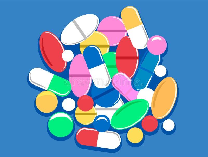Buntes Pillen-Tablet und Kapseln lizenzfreie abbildung