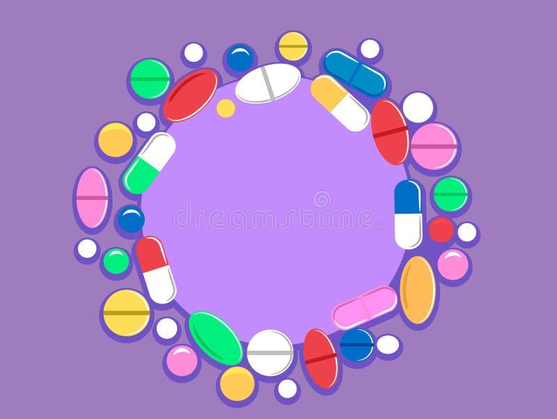 Buntes Pillen-Tablet und Kapseln vektor abbildung
