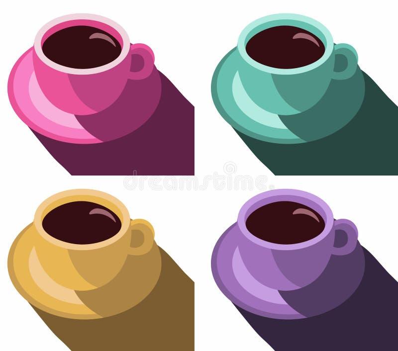Buntes Plakat der Kaffeetassen Stellen Sie Kaffeetasse-Vektor-Illustrations-Knall-Art Style Vector-Illustration ein lizenzfreie abbildung