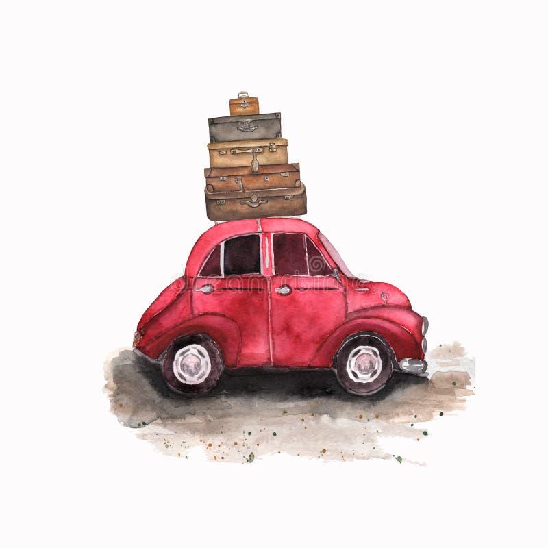 Buntes Plakat der lustigen Karikatur des Aquarells Illustration mit rotem Auto, Gepäck Reise backpackes und Weinlesekoffer waterc lizenzfreies stockfoto