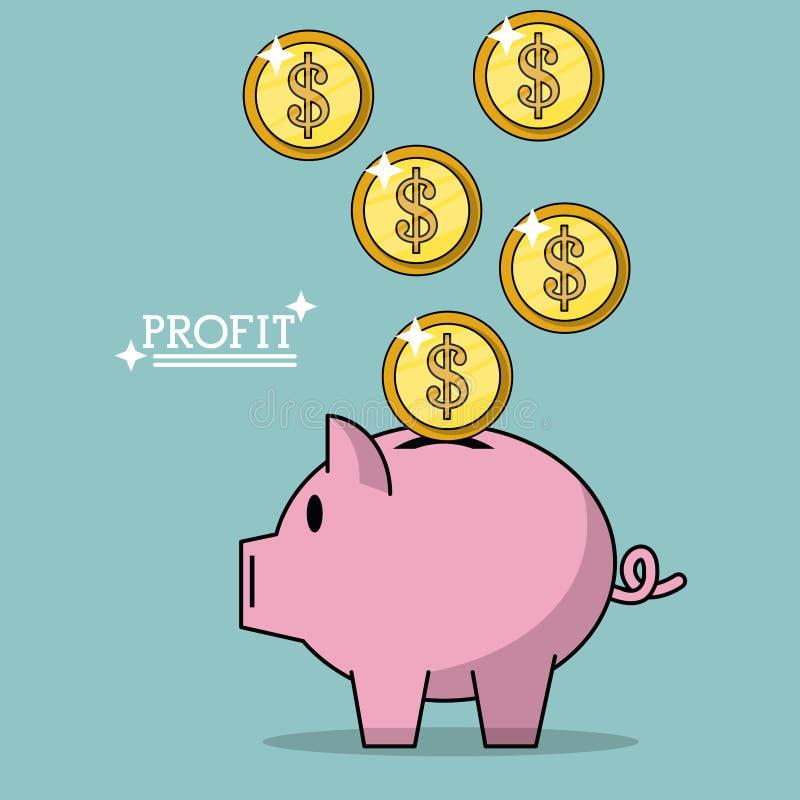 Buntes Plakat des Gewinns mit Geld prägt das Fallen in Sparschwein lizenzfreie abbildung