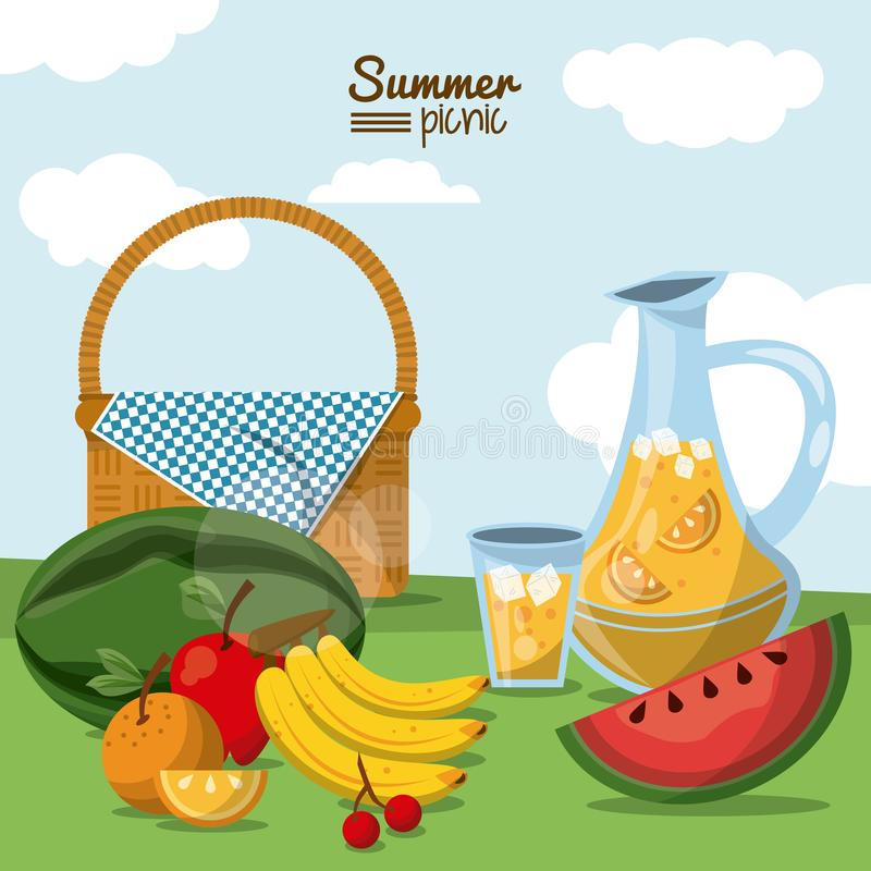 Buntes Plakat des Sommerpicknicks mit Weidelandschafts- und Picknickkorb mit Saftglas und -früchten vektor abbildung