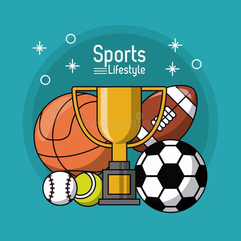 Buntes Plakat des Sportlebensstils mit Trophäe und Bälle von Fußballbasketballfußballtennis und -baseball stock abbildung