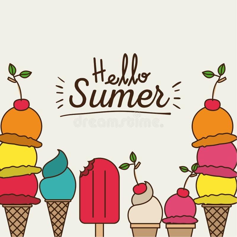 Buntes Plakat hallo des Sommers mit Vielzahl von Eiscreme lizenzfreie abbildung
