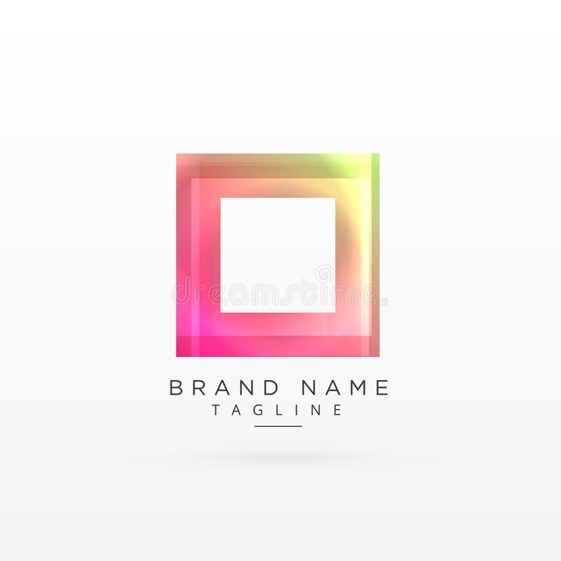 Buntes quadratisches glänzendes Logodesign stock abbildung