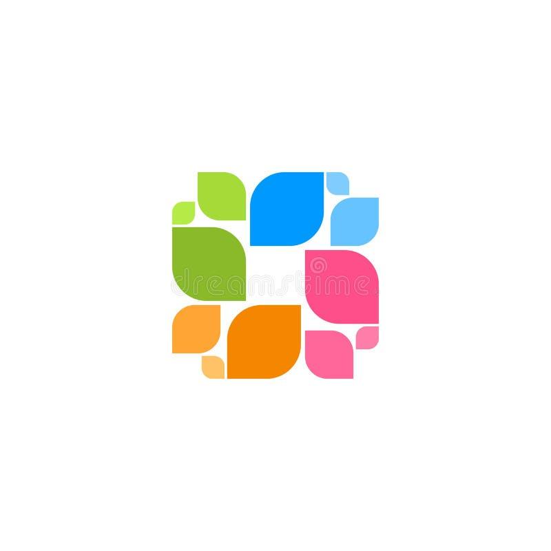 Buntes quadratisches Logo der Zusammenfassung vektor abbildung