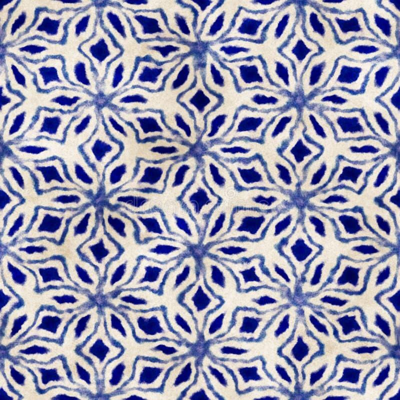 Buntes quadratisches Muster gebürtiger des Batiks nahtloser Aquarell künstlerischer Art boho stockbilder